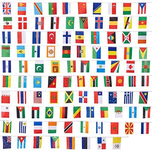 Set di bandiere del mondo internazionale, decorazione per feste, 100–100paese bandiere diversi paesi, colori assortiti, 80metri di lunghezza, ogni bandiera 13,2x 23,4cm