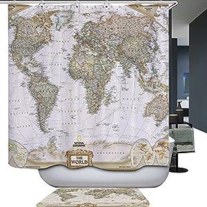 Harson&Jane Mapa del mundo Cortina de Ducha Resistente al Moho Cortina de Baño Resistente con 12 Anillos de Ducha 71×71 Inch / 71×79 Inch