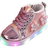ELECTRI Bébé Dentelle Chaussures d'éclairage Sneakers des Gamins LED Cristal de Fleur Lumineux Baskets rayonnantes en Cuir Brillant Chaussures