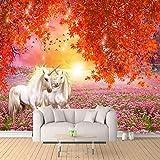 Papier Peint Mural 3D - Érable rouge, champ de fleurs, licorne de cheval blanc Intissé Poster Geant - Moderne Autocollant Mural - Décoration de peinture murale pour Chambre Salon Cuisine 250CMx175CM
