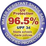 Kookaburra Sonnensegel Wasserabweisend 6,0m x 5,0m Rechteck 96.5% UV Schutz für Garten und Balkon (Blau)