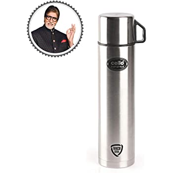 Cello Cup Style Stainless Steel Flask, 1 Litre, Silver