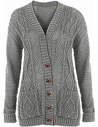 Damen Übergröße Boyfriend Strickjacke Langärmeliger Pullover Tasche Top 8-26