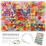 Ewparts 24 In 1 Brief Perlen Set für Schmuck Machen Kinder, Kinder Handwerk DIY Halskette Armbänder Brief Alphabet Bunte Acryl Crafting Perlen Kit (#2)