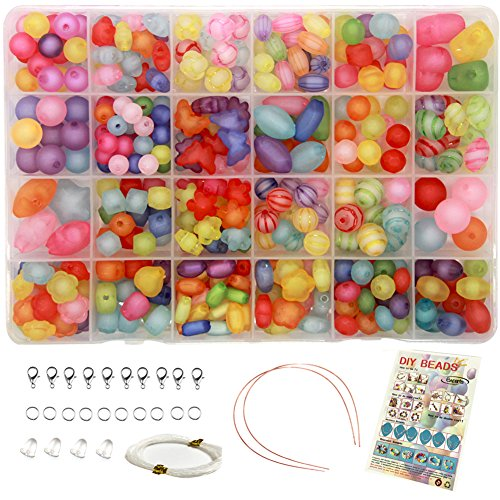 Ewparts 24 In 1 Brief Perlen Set für Schmuck Machen Kinder, Kinder Handwerk DIY Halskette Armbänder Brief Alphabet Bunte Acryl Crafting Perlen Kit (#2)