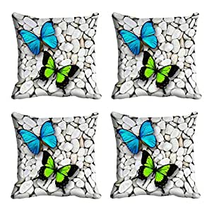Miss Stylist Colorful Butterfly HD Digital Premium Cushion Cover - Set of 4 (16 x 16 Inch)