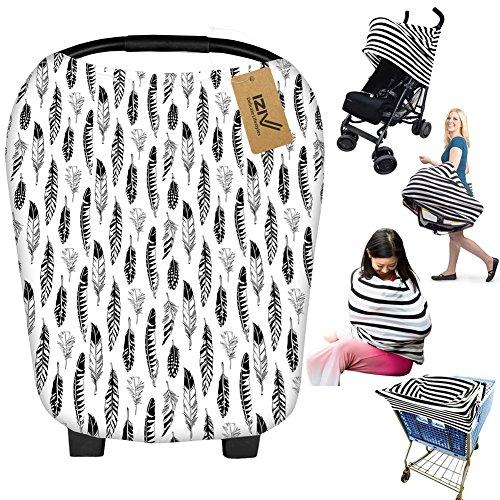 iZiv Ultrasoft 4-in-1 Mehrzweck-Baby Stretchy Abdeckung Auto Sitz Baldachin/Krankenpflege Abdeckung/Warenkorb Cover/Infinity Schal Perfektes Geschenk für Baby (Farbe-4)