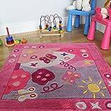 tapis papillon rose pour chambre de fille 100 polyester 90 x 90cm - Tapis De Chambre Fille