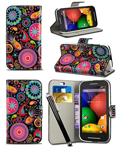 Apple iPhone 5 / 5S - New Creative Colourful Graphic Pattern Wallet Case Cover Printed Design with Integrated Stand & Large STYLUS Pen - Jellyfish