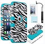 ZAFOORAH® - Cover antiurto per Apple iPod Touch 5, con pennino capacitivo, pellicola di protezione schermo e panno in microfibra inclusi Zebra Design 3 Layers - LIGHT BLUE