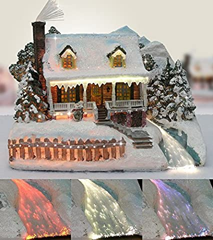 Christmas Snow Village Fiber Optic House Log Cabin Mountain Home Collectible by Banberry Designs