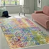 Designer Wohnzimmer Teppich Abstraktes Muster Pastellfarben Hochwertig Bunt, Grösse:120x170 cm