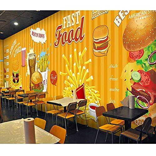 3D Fototapete Fast Food Hamburger Pommes Frites Restaurant Kaffee Dessert Shop Tapete Esszimmer Tapete Wandbild Kleber senden 400x280cm - Floral Dessert