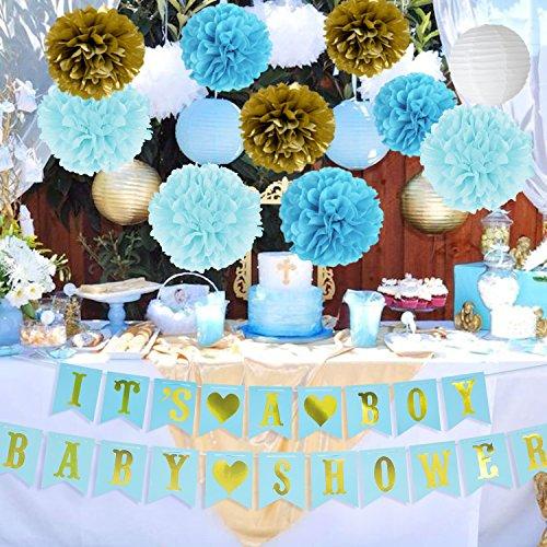 onen für Jungen BABY-DUSCHE Es ist ein Junge Bunting Banner Seidenpapier Pom Poms Papier Waben Balls Papierlaternen Blau / Weiß / Gold Baby Boy Baby Shower Party Dekorationen (Baby-dusche Boy Dekorationen)