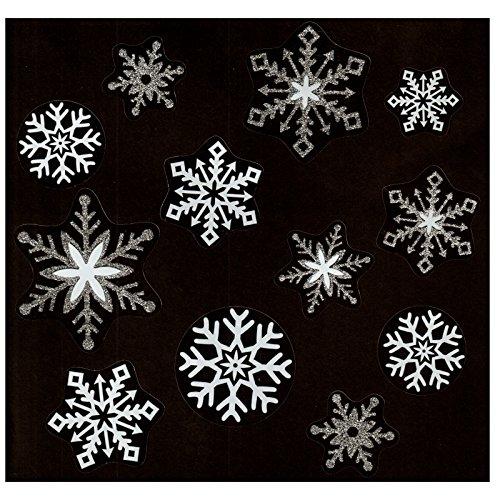 Fensterbild Set 12-tlg. Schneeflocken Eiskristalle transparent weiß / silber Weihnachten Winter Fenstersticker Aufkleber Fensterdekoration