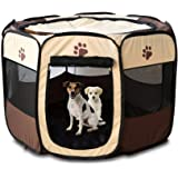 """Pets Empire Cat Puppy Playpen Cage Crate - Portable Folding Exercise Kennel - Indoor & Outdoor use Size XS (26"""" x 17…"""
