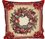 edle Kissenhülle 45x45 cm feinstes GOBELIN WEIHNACHTEN Nostalgie rot bunt Landhaus Weihnachtskissen (Kissehülle 45x45 cm)