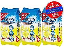 Toallitas húmedas antibacterianas en dispensador de 240piezas? Pack de 3 (contenido del paquete 3x 80unidades)?con fresco aroma a limón