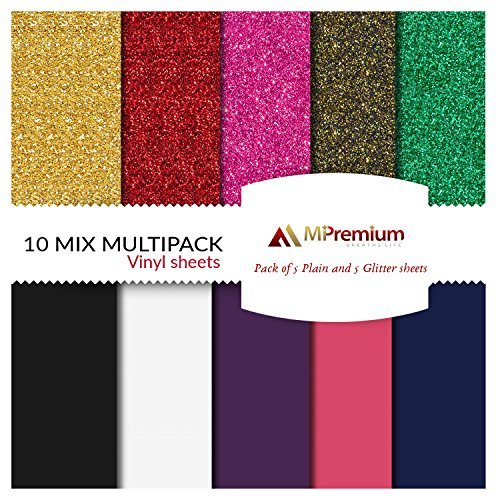 mipremium PU Heat Transfer Vinyl, HTV Eisen auf Vinyl Starter Pack, Combo-Bundle-Kit der 10beliebtesten Glitter & uni Farben für T-Shirts und anderen Textilien, Easy Cut, Weed & Drücken