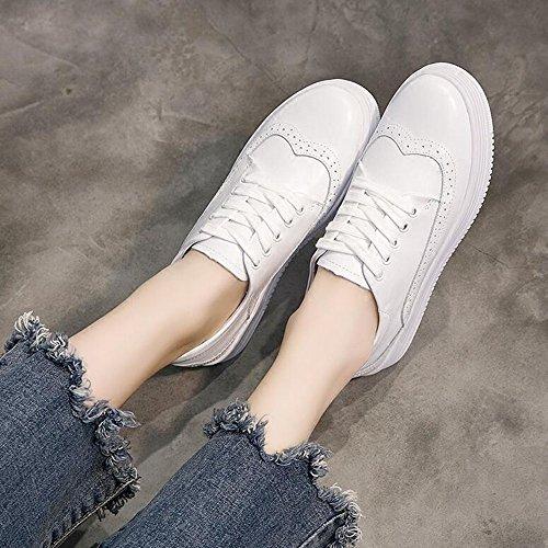 FUFU Sneakers delle donne Primavera Estate Autunno Inverno Comfort PU Outdoor Athletic Casual Low Heel Bianco per 18-40 anni ( Colore : Nero , dimensioni : EU37/UK4-4.5/CN37 ) Bianca