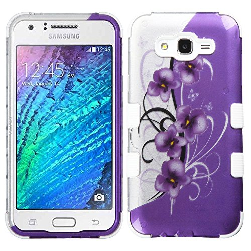 Verizon Basic-handy (ASMYNA Handy Fall für Samsung Galaxy J7–Twilight Petunias (2D Silber)/massiv weiß)