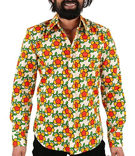 70er Jahre Flower Power Hemd orange XL (70er Jahre Hippie Mode)