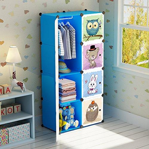 Koossy Erweiterbares Kinderregal Kinder Kleiderschrank mit Waldtiere für Kinderzimmer (Blau 8 Cube)