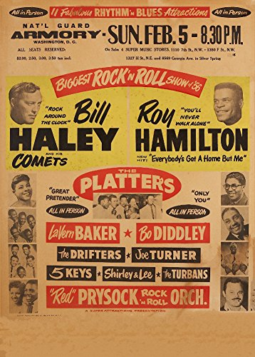 Vintage Bill Haley und seine Kometen, Roy Hamilton, Die Platten, BO DIDDLEY,, Joe Turner, Die 5 Schlüssel, Shirley und Lee Live at the Washington National Guard Arsenal 1956. 250 gsm, Hochglanz, A3, vervielfältigtes Poster (5 National Guard)