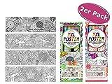 itsisa Mandala Poster XL Zum Ausmalen inkl. Stifte, 2er Set Ausmal Poster für Erwachsene, Alternative Zum M