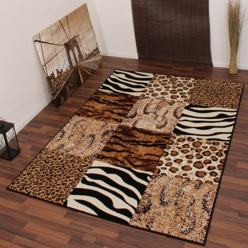 Modern Designer Carpet with Leopard Zebra Pattern Beige / Black 190x280 cm