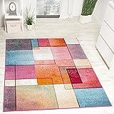 Paco Home Designer Teppich Modern Bunt Karo Muster Multicolour Türkis