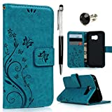 S6 Edge Case , Galaxy S6 Edge Case - Mavis's Diary Book Wallet PU Leather Magnetic Closure Flip Case [Butterfly & Flower Embossing Series] with Card Slots & Stand Cover for Samsung Galaxy S6 Edge with One Dust Plug & One Stylus Pen and cleaning cloth - Turquoise (Not fit for Galaxy S6 or S6 Edge Plus)