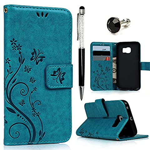 S6 Edge Case , Galaxy S6 Edge Case - Mavis's Diary Book Wallet PU Leather Magnetic Closure Flip Case [Butterfly & Flower Embossing Series] with Card Slots & Stand Cover for Samsung Galaxy S6 Edge with One Dust Plug & One Stylus Pen and cleaning cloth - Turquoise (Not fit for Galaxy S6 or S6 Edge