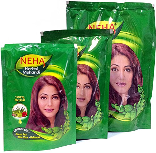 Neha Herbal Mehandi Powder for Hair - 100% Herbal Base | Enriched with Green Tea, Aloe Vera, Habiscus | 140 g