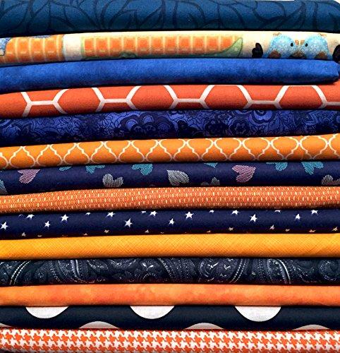 10x FQ 's sortiert orange und blau Quilting Stoff-100% Baumwolle-45,7x 55,9cm Zoll-Fat Quarter Bundle -