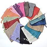 CLTPY Farbig Jutesäckchen Jute-Beutel Jute-Sack 20 Stück 20x30cm/7,9x11,8in Geschenksäckchen Kordelzug Verpackung Tasche (Gemischte Farbe)