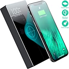 Wireless Portable Charger,TOVAOON 20000mAh Fast Charging Power Bank Qi Battery Charger Pad External Battery Pack for iPhone 8/8 Plus,Samsung S7 S8 S9,Note 7 8,iPhone X(black-d2-new)