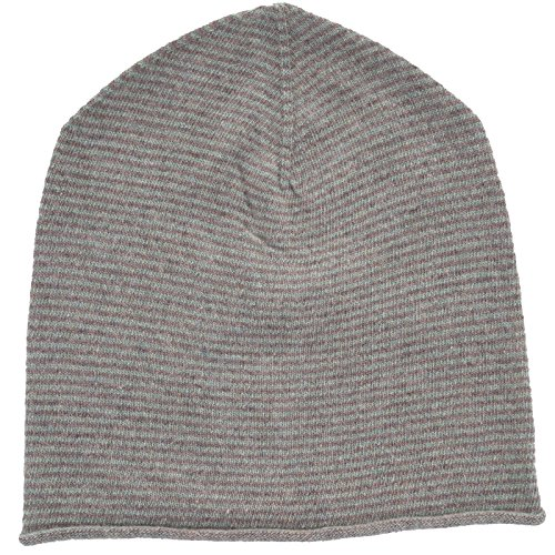 REALLY NICE CASHMERE Eco Kaschmir Mütze - Curl Stripes Beanie Unisex Winter Strickmütze 100% Wolle Braun/Grün (Unisex-eco-fleece)