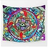 Yzrh Personnalisé Géométrique Irrégulier Hippie Mandala Motif Tapisserie Peinture Abstraite Art Tenture Murale Gobelin Salon Décor Artisanat B75