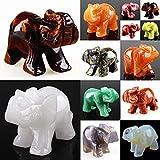 Geschnitzter Heilkristall, Motiv: beschützender Elefant, Taschengröße, Edelstein-Figur, 3,8cm, Wholesale 5pcs