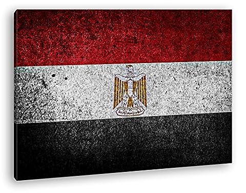 Ägyptische Flagge Format: 100x70 Effekt: Zeichnung als Leinwandbild, Motiv fertig gerahmt auf Echtholzrahmen, Hochwertiger Digitaldruck mit Rahmen, Kein Poster oder Plakat
