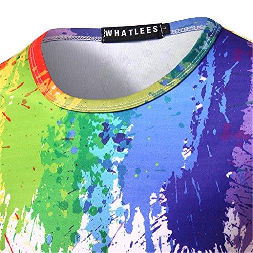 Whatlees Herren Hip Hop Slim Fit T-Shirt mit Bunt 3D Farbspritzer Druck Muster B056-25