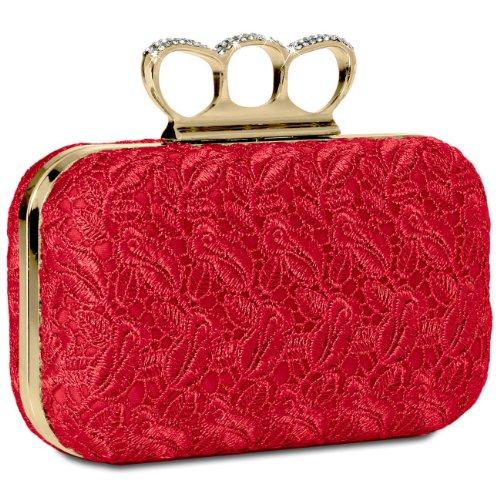 CASPAR Damen Schlagring Box Clutch/Abendtasche mit Stoff Häkel Spitze Dekor und Strass Steinen - viele Farben, Farbe:rot -