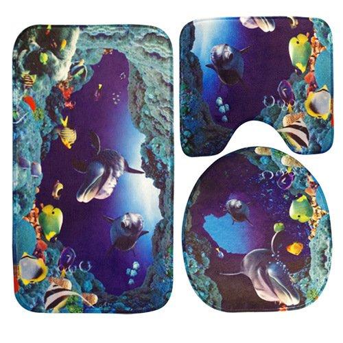 Wc-Sitz drei Stücke von Wasser saugfähiger Schwamm WC O Abdeckung U WC Sitzkissen, Tuba, Dolphin