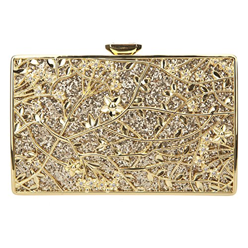 Bonjnavye Studded Rhinestone Floral Purse Party Clutch Handbags for Girls Fuchsia Gold