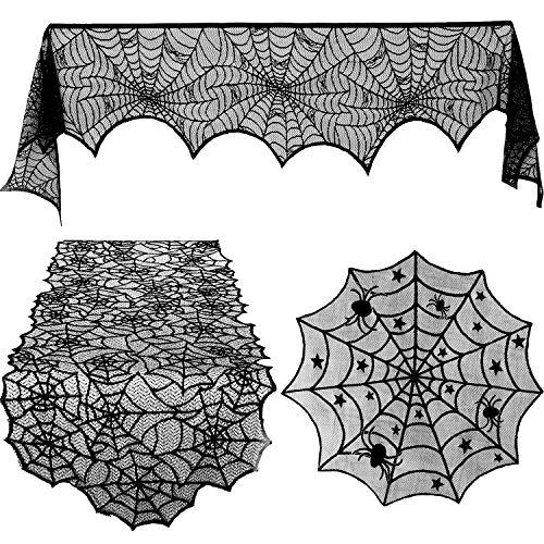 (Blulu 3 Stück Halloween Spitze Spinnennetz Tischdecke Kamin Mantel Tischläufer Runde Spinnennetz Tischabdeckung Topper für Halloween Haus Party Dekor, 3 Größen)