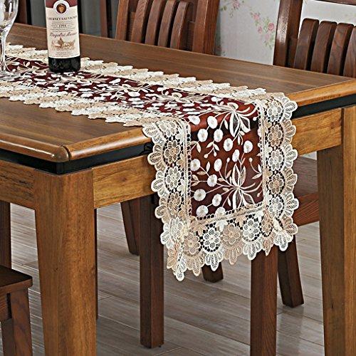 BSNOWF-Chemin de table Chemin de Table Broderie Dentelle Nappe Creuse Thé Table Couverture Serviette de Vin Serviette Serviette TV Armoire Serviette ( Couleur : Vin rouge , taille : 40*90cm )
