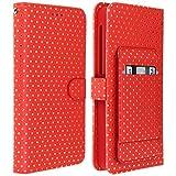 Jeija Universal Flip Cover für 4.7'' bis 5.0'' Smartphones, Schutzhülle mit Tupfen, Spiegel & Ständer, Silikoncase