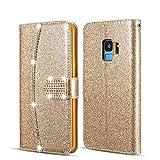 UEEBAI Hülle für Huawei P8 Lite, Premium Glitzer PU Leder Handyhülle mit [Diamant Schnalle] [Kartenslots] [Magnetverschluss] Ständer Funktion Strass Soft TPU Schutzhülle Wallet Flip Cover - Gold