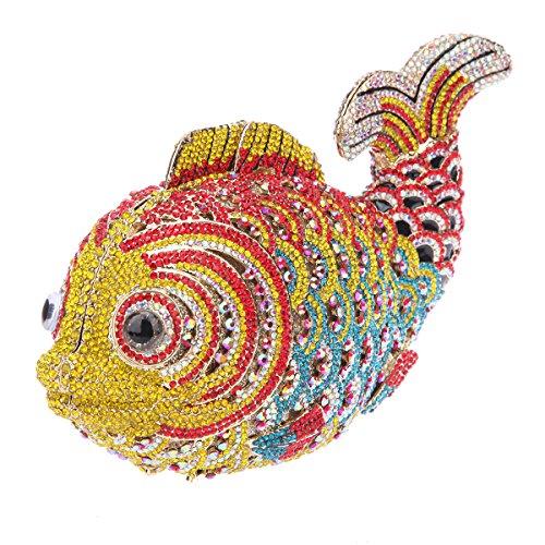 Bonjanvye Mini Fish Evening Purse for Girls and Women Clutch Bag Green Yellow